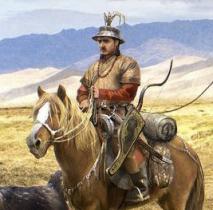 13th Century traveler on horseback