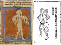 Images of monsters taken from European and Chinese manuscripts